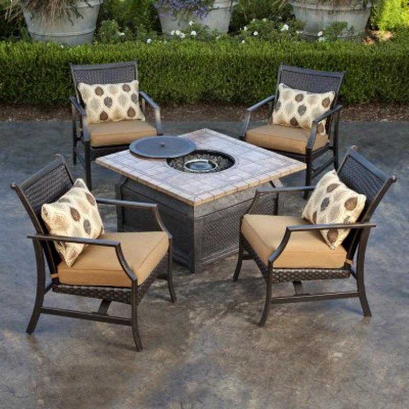 New 5 Piece Fire Pit Chat Set 42 Square Porcelain Top Table 4 Rocking C