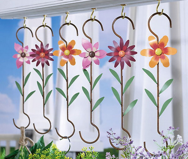 Metal Flower Hanging Baskets : New metal flower plant hangers hanging basket hooks