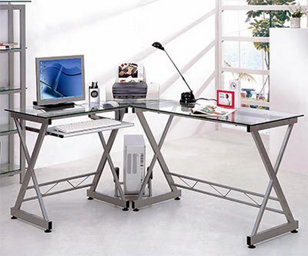 New l shaped glass top desk computer work station metal for Office desk features