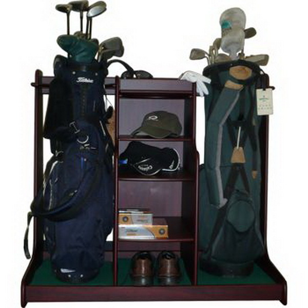 New Wood Double GOLF BAG STORAGE RACK with equipment accessory shelves