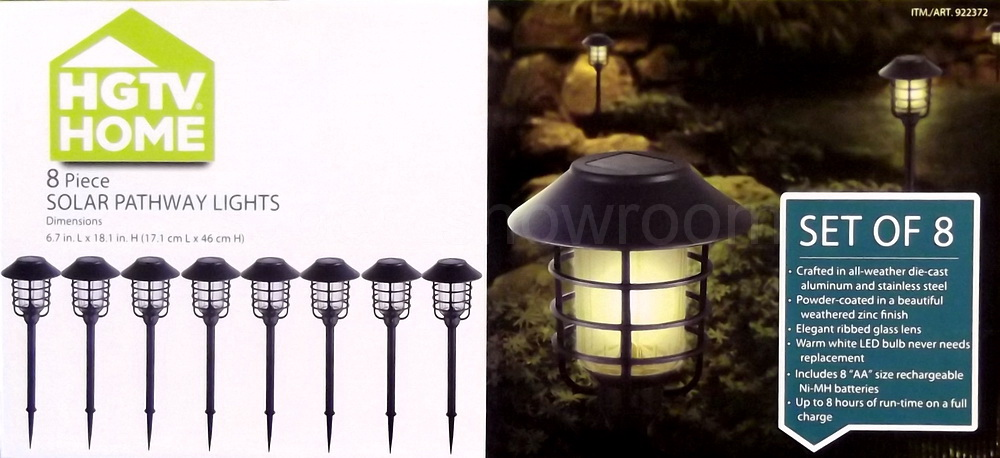 New Hgtv Home 8 Piece Solar Pathway Lights Outdoor