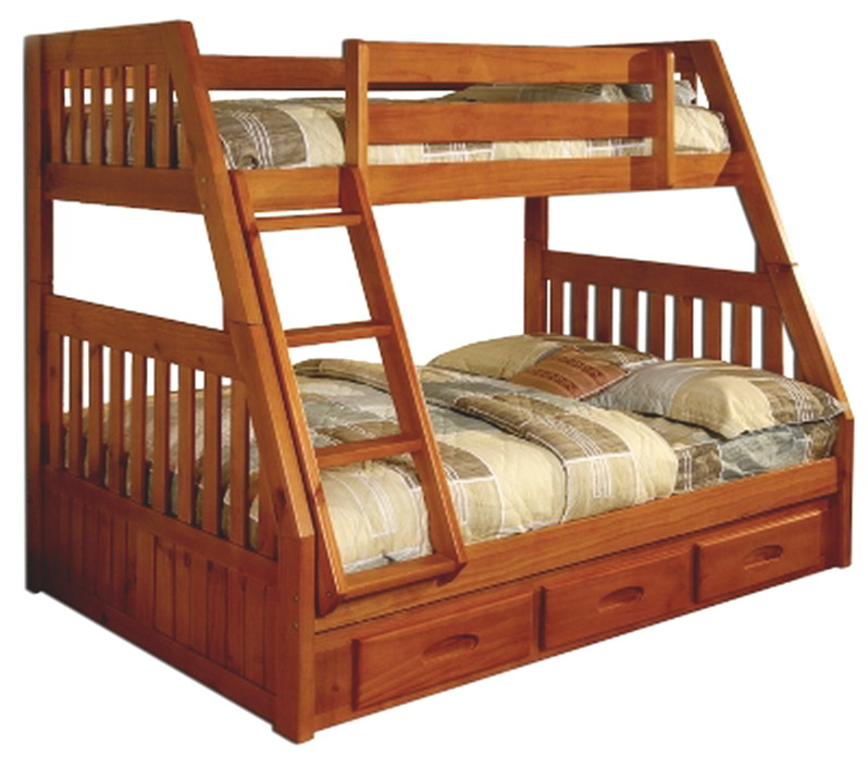 Bedroom furniture bunk bed twin over full bunk bed wooden honey finish