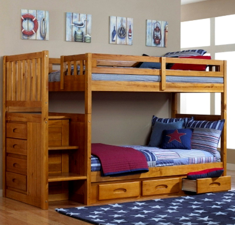 New Kids Bedroom Furniture Wood Bunk Bed Staircase Wooden