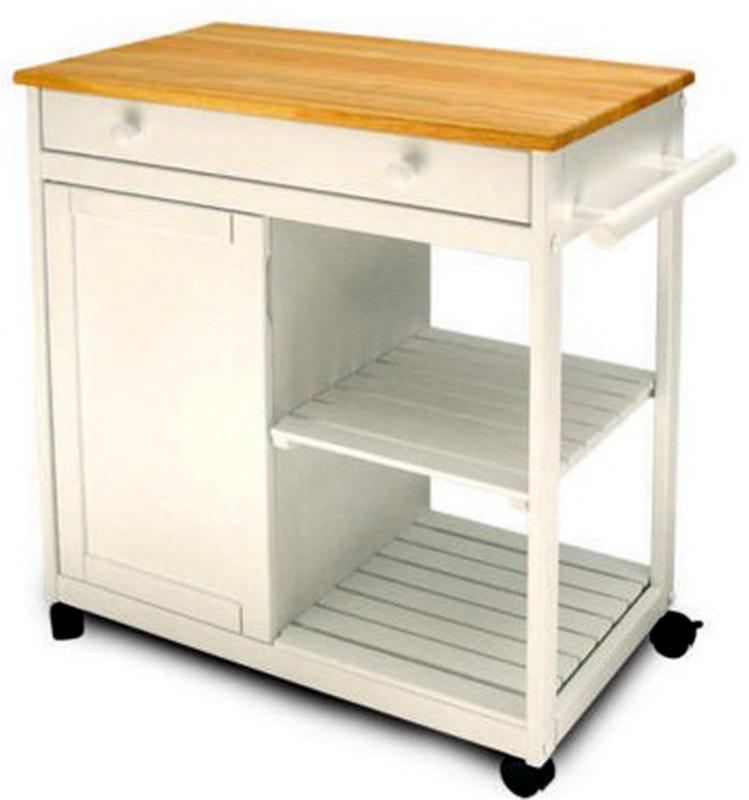 Hardwood Top Kitchen Cart Storage Shelf & Cabinet White Finish Island
