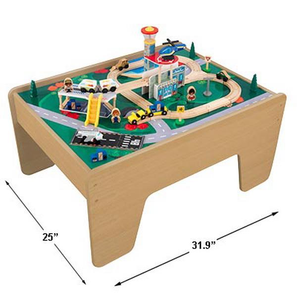new kidkraft 2 sided wood train lego activity table ebay. Black Bedroom Furniture Sets. Home Design Ideas