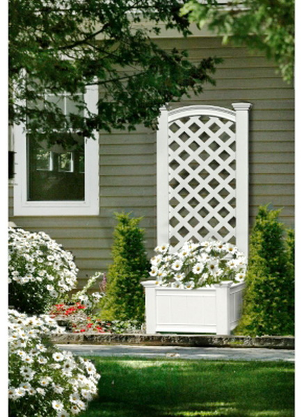 New 56 tall outdoor decorative lattice privacy screen for Outdoor privacy screen white