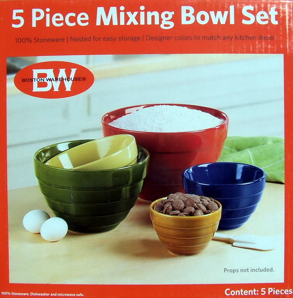 new 5 piece multi colored stoneware mixing bowls set ebay. Black Bedroom Furniture Sets. Home Design Ideas