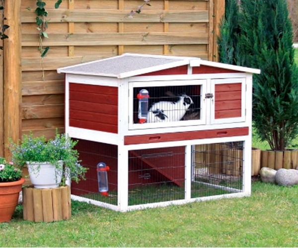 New 2 story small animal rabbit guinea pig red cage hutch for Cage exterieur pour lapin pas cher