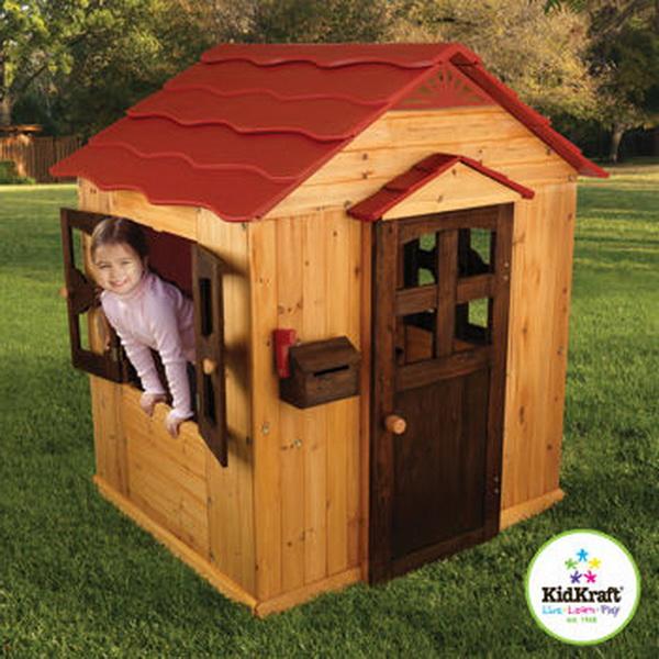 Perfect Backyard Playhouses : New Large KidKraft Outdoor Kids Wood Pretend Playhouse Play House Fort