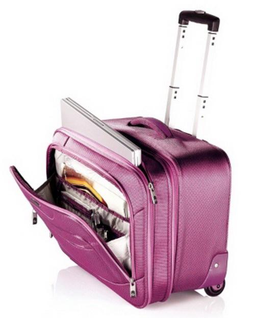 New Samsonite Pink Wheeled Laptop Case Rolling Luggage Bag