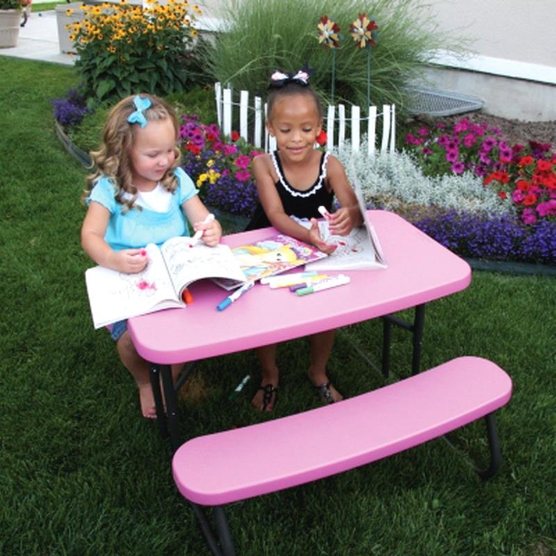 new kids pink picnic table portable folding children size outdoor furniture ebay. Black Bedroom Furniture Sets. Home Design Ideas