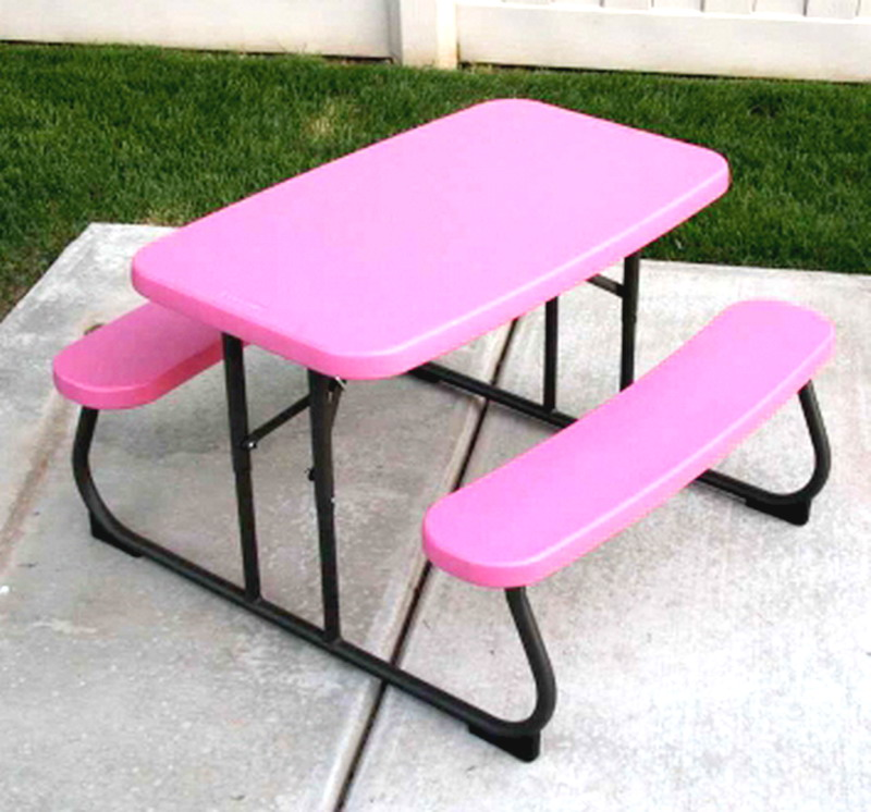 PINK PICNIC TABLE Portable Folding Children Size Outdoor Furniture