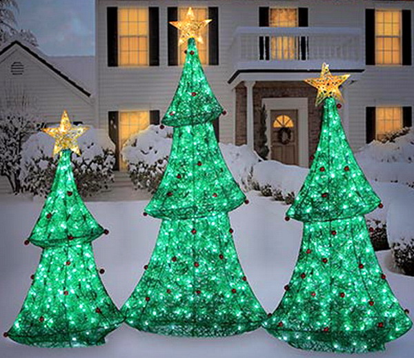 New 3 Huge Outdoor Light Up Christmas Trees Set Led