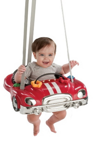 New evenflo jump go red race car baby bouncer johnny jumper for Door bouncer age