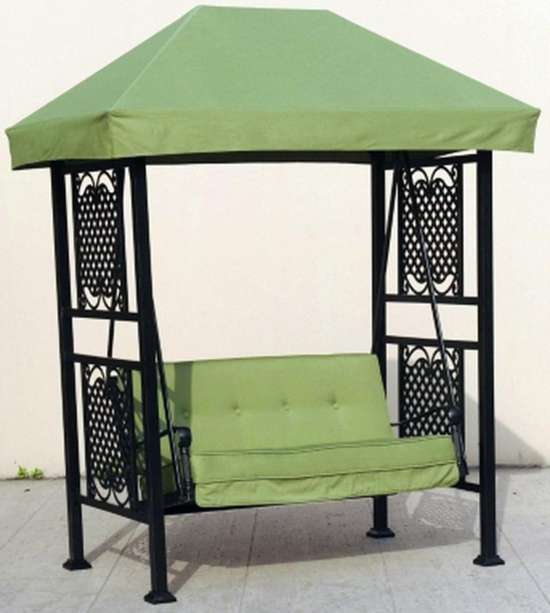 new patio porch deck swing green sunbrella fabric canopy