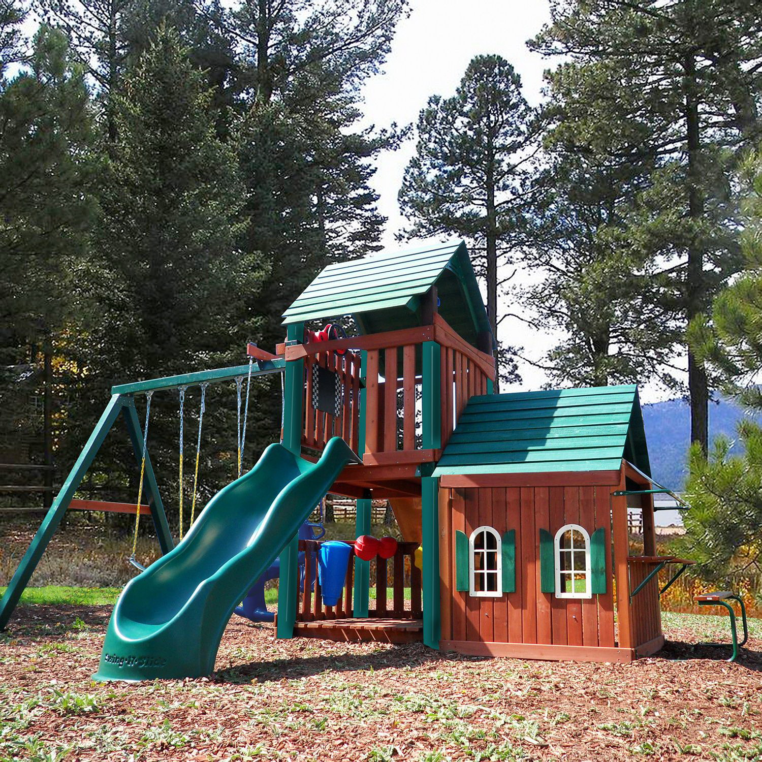 New Kids Huge Wood Playground Set Swing Set Play House Wooden Playhouse Slide Ebay