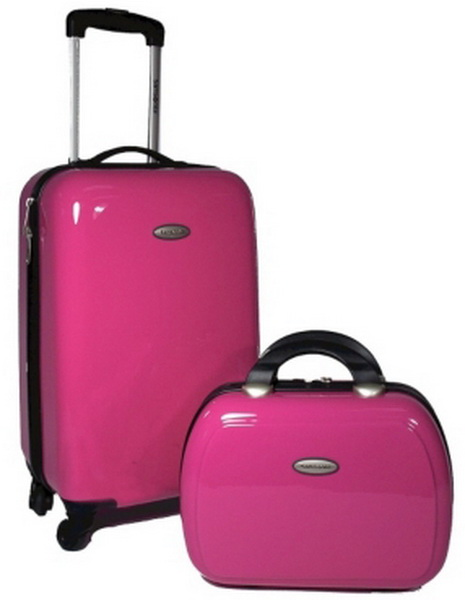 New Samsonite 2 Pc Pink Luggage Set Spinner Wheeled Carry On Beauty Case Ebay