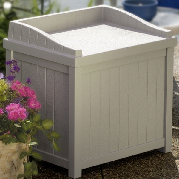 new outdoor waterproof deck storage box patio seat suncast
