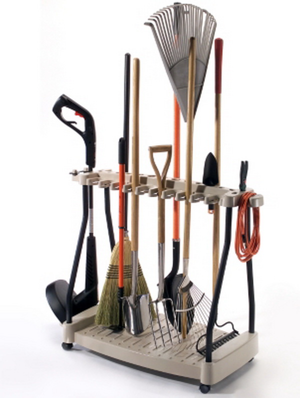 new garden outdoor tools storage rack holder rake shovel