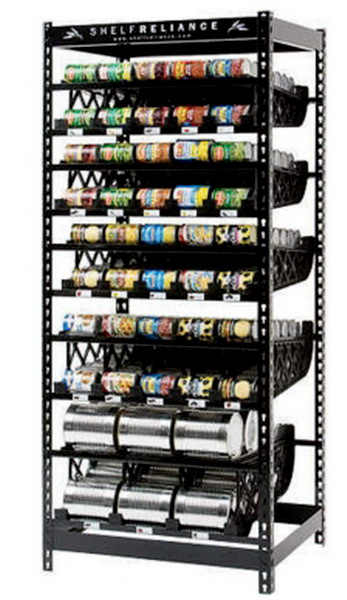 new huge 72 tall 300 can storage rack food rotation system steel shelving shelf ebay. Black Bedroom Furniture Sets. Home Design Ideas