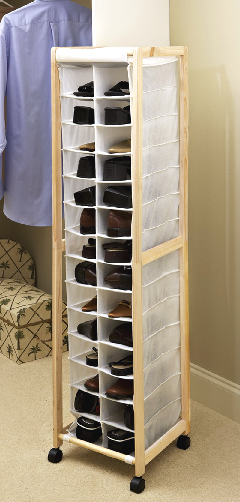 Portable Shoe Storage Tower 14 Pair Closet Organizer Wood Fabric