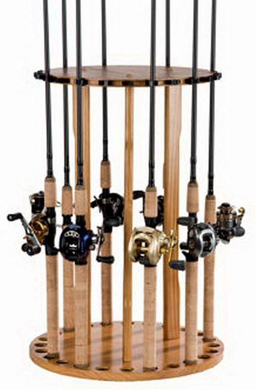 New rotating fishing rod rack 24 pole storage round holder for Wooden fishing pole