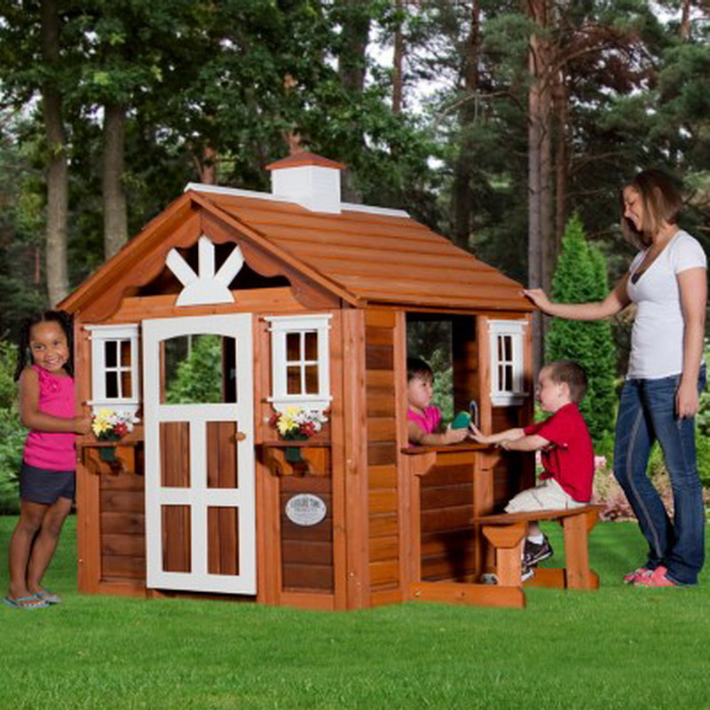 New kids wooden summer cottage playhouse outdoor cedar for Kids outdoor playhouse