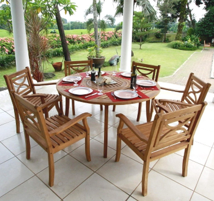 wood round table 6 chairs 7 piece outdoor dining patio furniture set