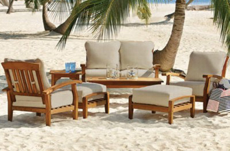 New 7 Piece Teak Wood Outdoor Patio Seating Set Garden Furniture White Cushions