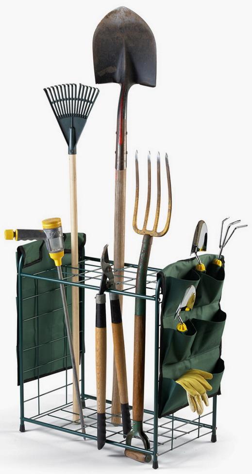 New metal garden tools storage rack holder with pockets ebay