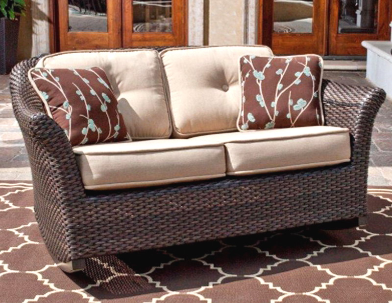 New Outdoor Loveseat Rocker Chair Rocking Artificial Wicker Patio Furniture
