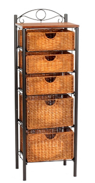 new beautiful 5 basket drawers wicker storage unit black painted metal frame ebay. Black Bedroom Furniture Sets. Home Design Ideas