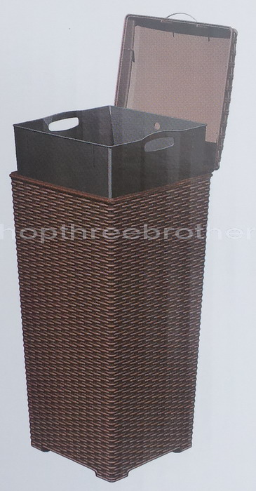New artificial wicker trash can bin waste basket deck outdoor patio 30 gallon ebay - Wicker trash basket ...