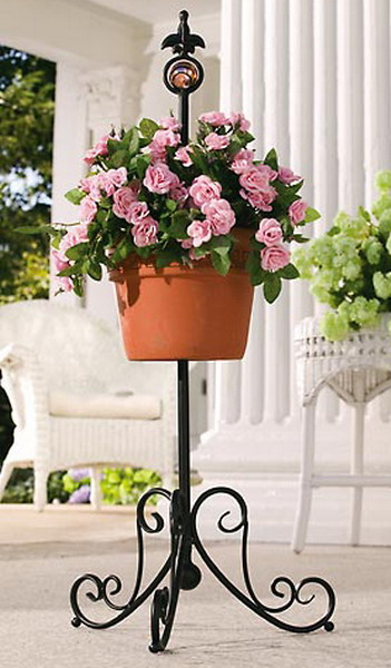 new 30 tall standing planter iron plant holder stand. Black Bedroom Furniture Sets. Home Design Ideas